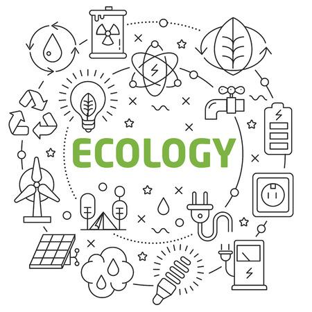Flat lines illustration for presentation ecology Ilustrace