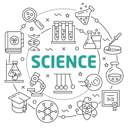 Flat lines illustration for presentation science
