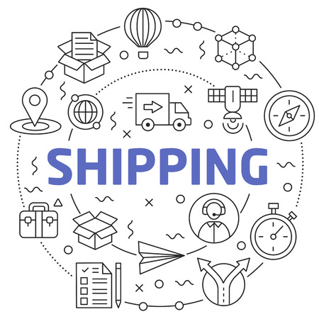 Flat lines illustration for presentation shipping