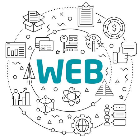 Flat lines illustration for presentation web Reklamní fotografie