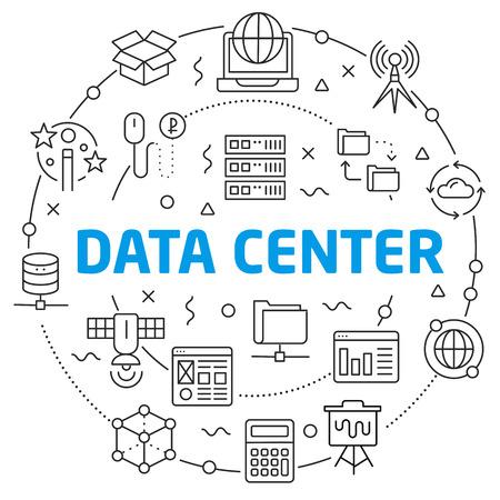 Flat lines illustration for presentation data center