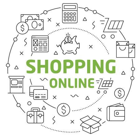 Flat lines illustration for presentation shopping online Reklamní fotografie