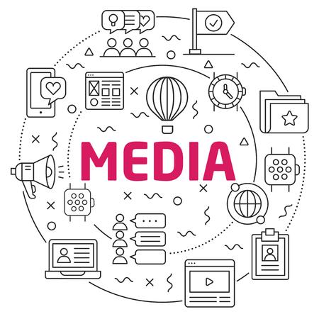 Flat lines illustration for presentation media