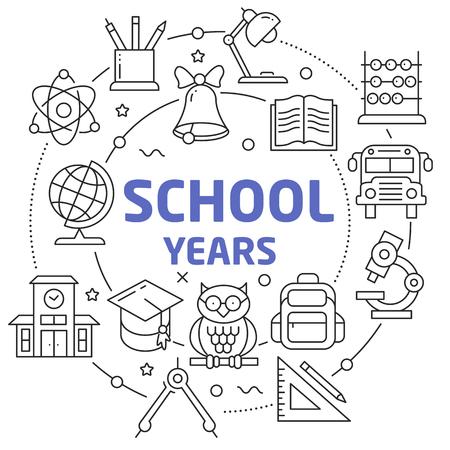 Flat lines illustration for presentation school years