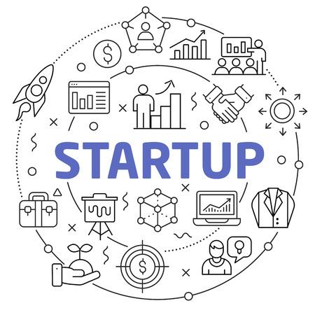 Flat lines illustration for presentation startup