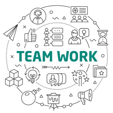 Flat lines illustration for presentation team work Reklamní fotografie