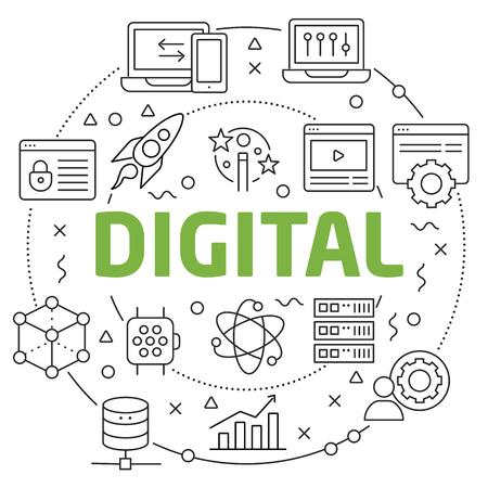 Flat lines illustration for presentation digital