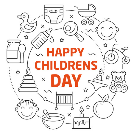 Flat lines illustration for presentation happy childrens day