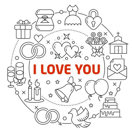 Flat lines illustration for presentation i love you