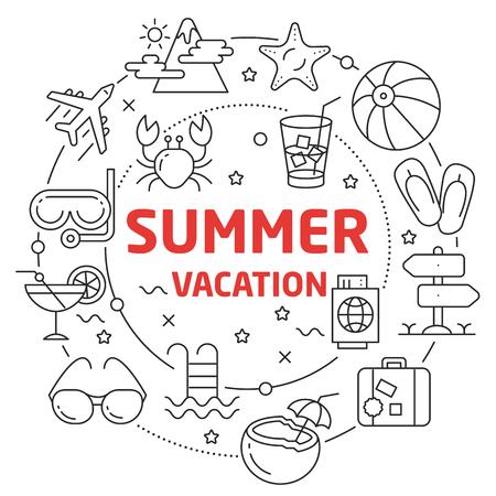 Flat lines illustration for presentation summer vacation Reklamní fotografie