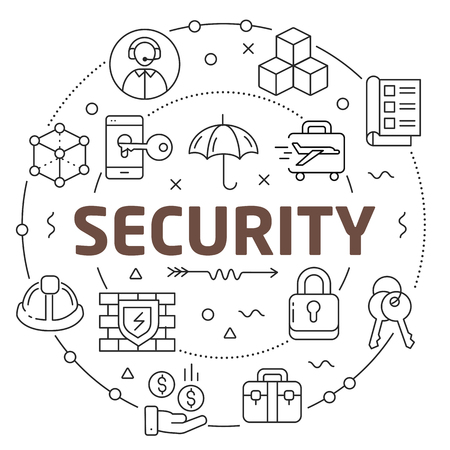 Lines Illustration Flat Circle and icons security