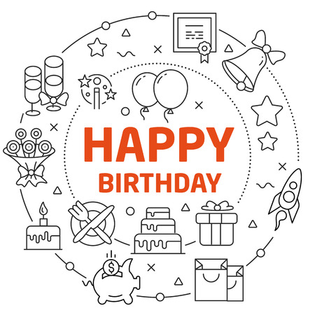 Lines Illustration Flat Circle and icons happy birthday