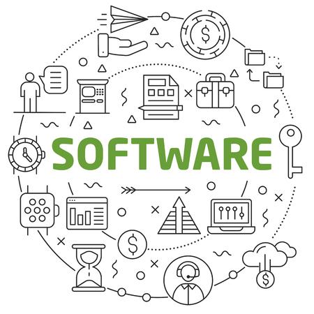Flat lines illustration for presentation software