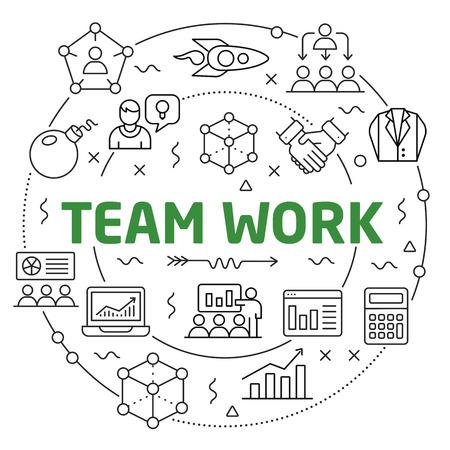 Flat lines illustration for presentation team work Ilustrace