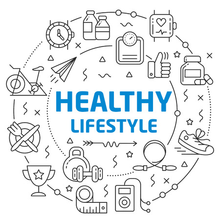 Flat lines illustration for presentation healthy lifestyle
