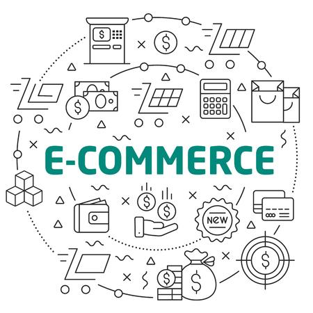 Flat lines illustration for presentation e-commerce