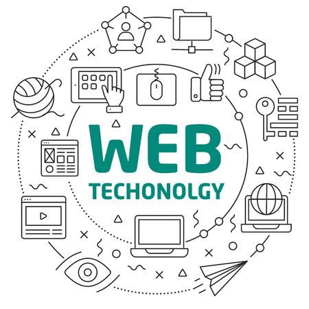 Flat lines illustration for presentation web technology Ilustrace