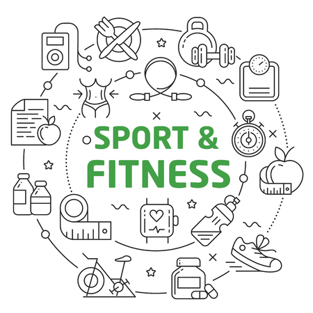 Lines Illustration Flat Circle and icons sport fitness
