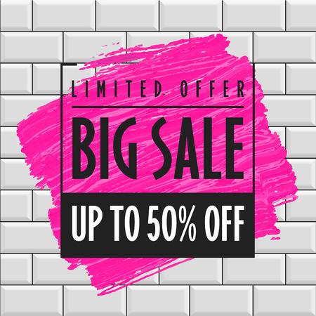 Big sale banner template brick wall background Illustration