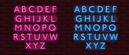 Vector Neon Banner alphabet font bricks wall Ilustrace