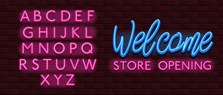 Neon Banner alphabet font bricks wall