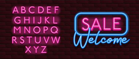 Neon Banner alphabet font bricks wall Reklamní fotografie - 110354233
