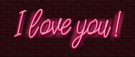 Neon Banner alphabet font bricks wall love you