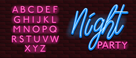 Neon Banner alphabet font bricks wall night party