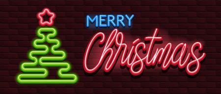 Neon Banner alphabet font bricks wall merry christmas Illustration