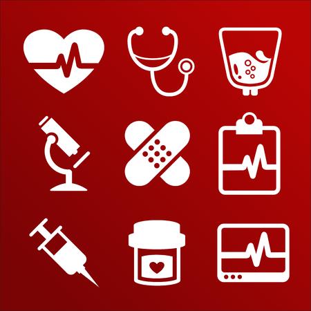 Vector Medical icons set ambulance emergency