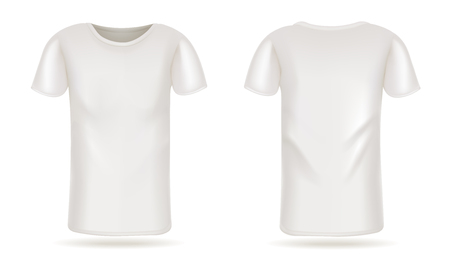 Template vector white t-shirt front and back view