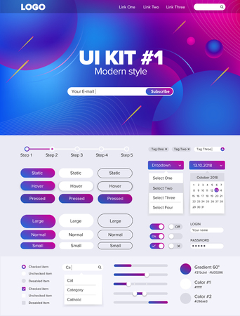 UI Kit for website temlate buttons gui website