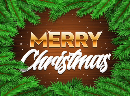 Merry Happy Christmas banner tree branches winter xmas background