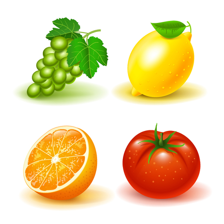 Vector image set icons of fruits and vegetables, grapes lemon orange tomato Ilustrace