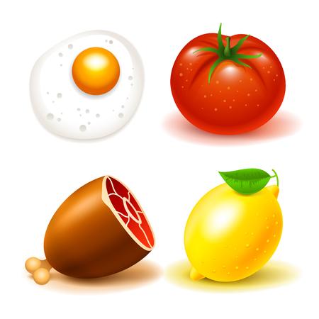 Food icons beef tomat lemon scrambled eggs