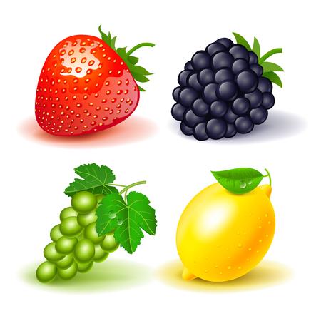 Icon set strawberries grape lemon white