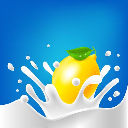 Illustration drops milk lemon splash dairy cream abstract Illustration