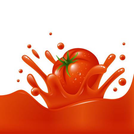 Banner template tomato juice splash of tomato Illustration