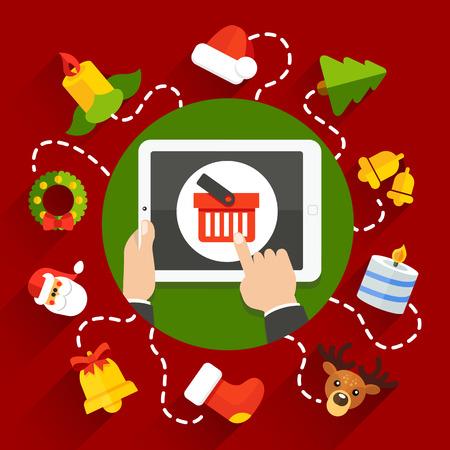 illustration Christmas gifts shopping xmas