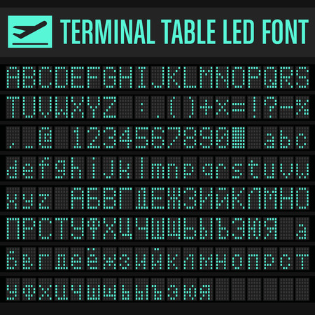 Vector airport Terminal Table Led Font set Ilustrace