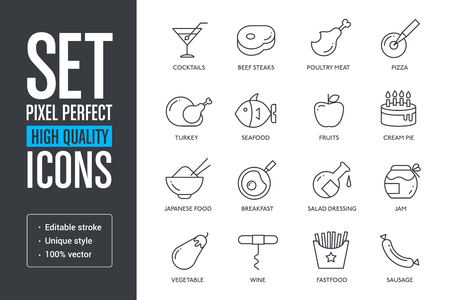 Set vector pixel perfect high quality lines icons