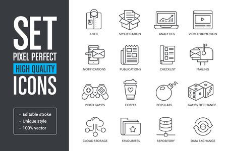 Establecer píxeles perfectos iconos de líneas de alta calidad Ilustración de vector