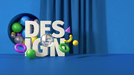 3D render illustration blue green yellow creative design banner mail template Reklamní fotografie - 132143137