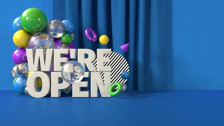 3D render illustration blue green yellow creative banner we open mail template