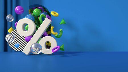 3D render banner discount interest percent sale