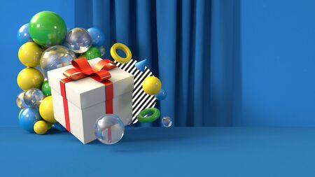 3D render illustration share gift banner template