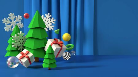 Happy New Year Merry Christmas banner illustration 3D render
