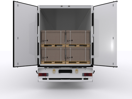truck with open trailer photo