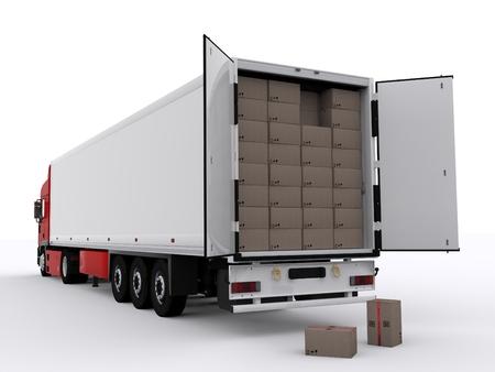 camion avec remorque ouverte