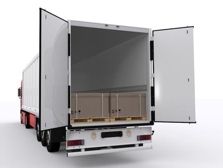 vrachtwagen met open aanhanger Stockfoto